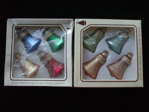 Vintage Christmas Tree Ornaments Bells Glitter Stencils Ribbon Krebs Glass Box
