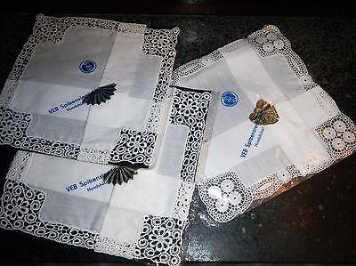 3x Taschentuch Taschentücher Einstecktücher Einstecktuch Spitze OVP DDR