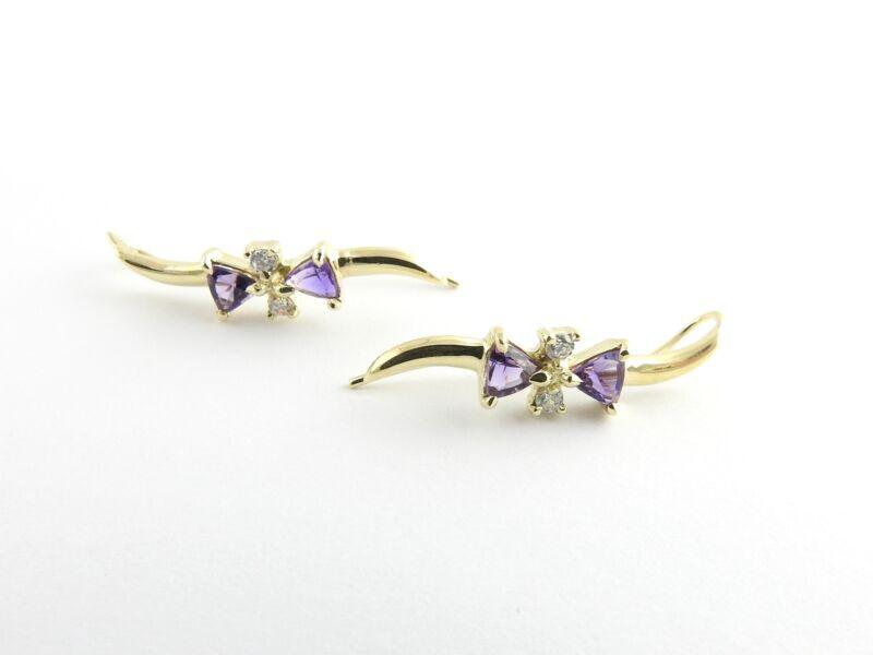 Vintage 14 Karat Yellow Gold Amethyst and Cubic Zirconia Earrings #6267