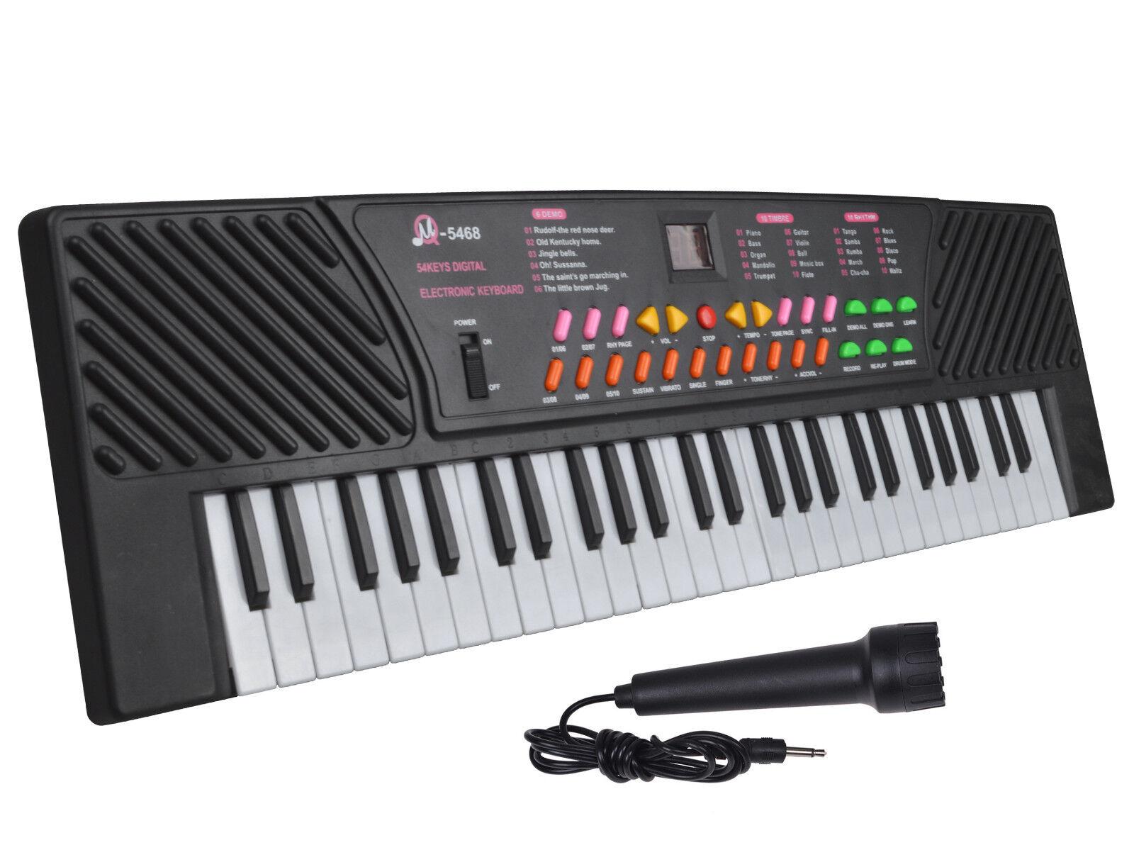 black 54 keys music electronic keyboard key board kids gift electric piano organ ebay. Black Bedroom Furniture Sets. Home Design Ideas