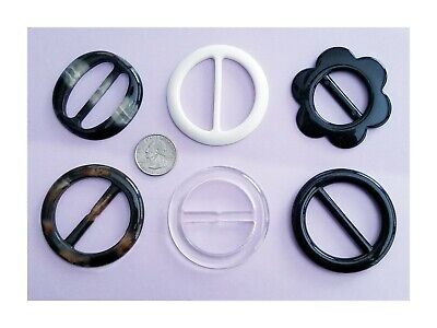 NEW 6 pc Scarf Slide/Clip & T-Shirt Buckle Asst. Black White Clear Brown 05084