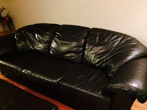 Leather Custom Made Couch Black.