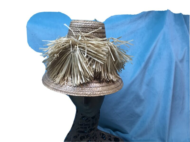 vintage straw hat Happy Cappers 1950s Raffia Size 7 Tall Novelty Beach Tilt 40s