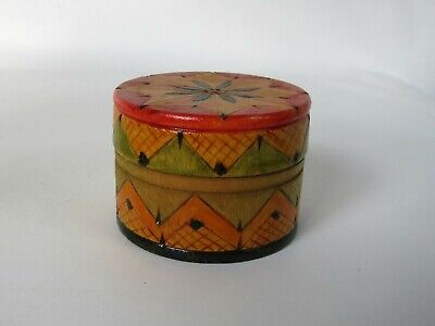 Pretty Vintage Hand Painted Wood Round TRINKET BOX Carved Geometric Design Lomax Round Wood Box