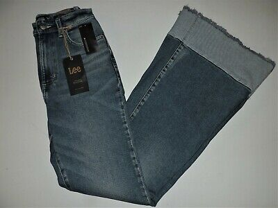 Women's Lee Vintage Modern Canyon Fade High Rise Frayed Flare Leg Jean 31 NWT
