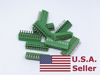 10pcs 2.54mm 0.1 Universal 10 Pin 10 Poles Pcb Screw Terminal Block Connector