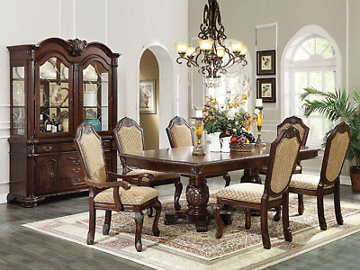 Old World Cherry Brown Dining Room 7 pieces Rectangular Table & Chairs Set IACB Cherry Rectangular Dining Table Set