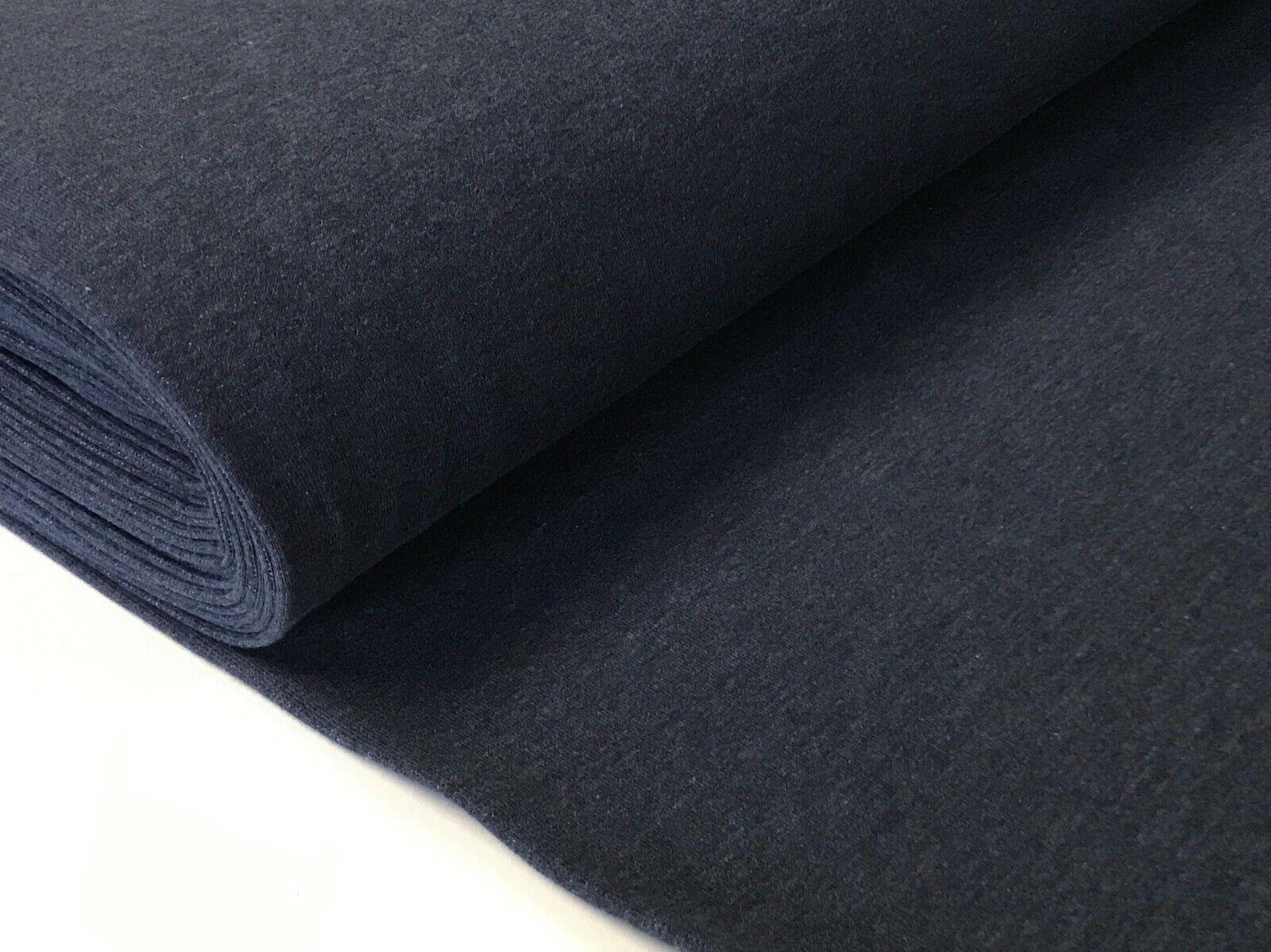 Sweatstoff meliert uni viele Farben METERWARE ÖKOTEX angeraut 140 cm breit Marineblau