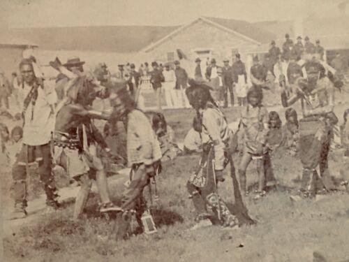 "Photo Native American Indian "" War Dance "" Fort Western lg Boudoir Albuman 1880s"