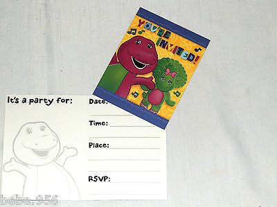 Barney Party Supplies (NEW  ~ BARNEY~     8-  INVITATIONS AND THANK YOU NOTES  PARTY)