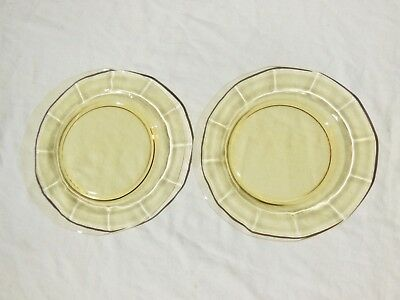 "2 Fostoria Fairfax No.2375 Topaz Yellow Depression Glass 8-3/4"" Luncheon Plates"