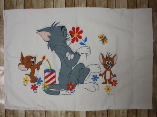 MGM 1960s Tom and Jerry Cartoon Miracale Standard Pillowcase 20 x 29 White Vtg