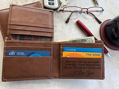 Personalized Mens Leather Wallet Christmas Gifts for Men Dad Husband Gift