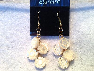 WHITE MOTHER OF PEARL CARVED FLOWER DANGLE EARRINGS 80's - White Pearl Flower Earrings