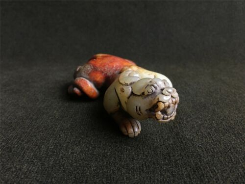 Ancient Chinese Hetian white jade cinnabar ooze colour beast statue