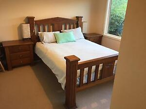 Queen Timber Bed frame and matching  bed side tables (Wentworth) Fawkner Moreland Area Preview