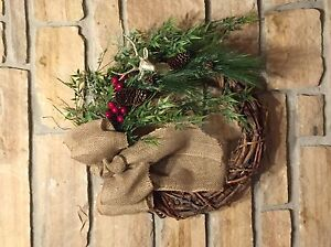 Christmas wreath -- natural -- deer and burlap Kawartha Lakes Peterborough Area image 1