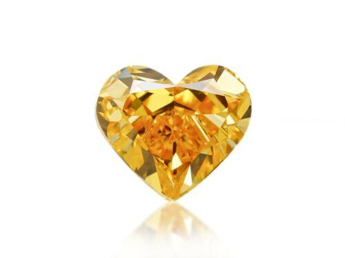 Diamond Natural Color Fancy Vivid Yellow Orange 0.31 ct Loose Heart Shape GIA