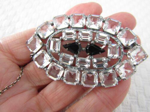 Antique Art Deco Open Back Crystal / Paste Large Brooch