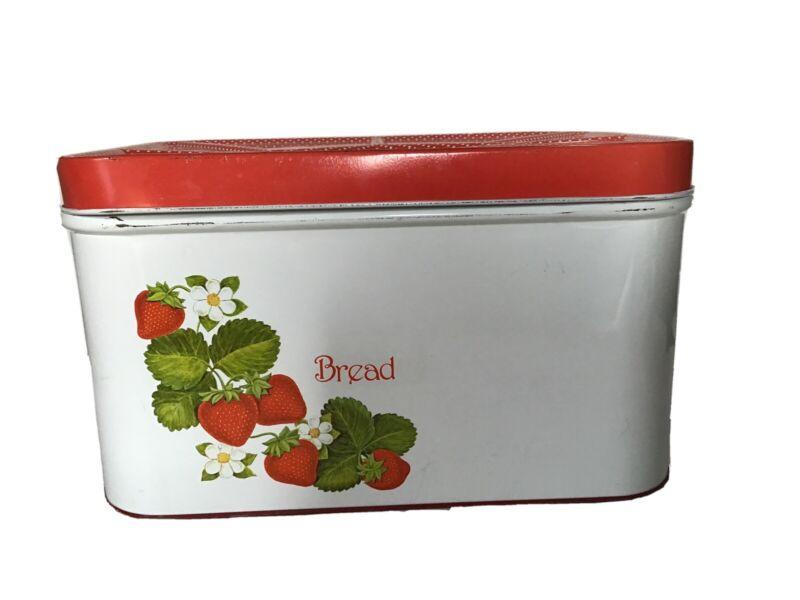 Vintage 1970s Cheinco Strawberry Tin Bread Box For Kitchen Storage Metal