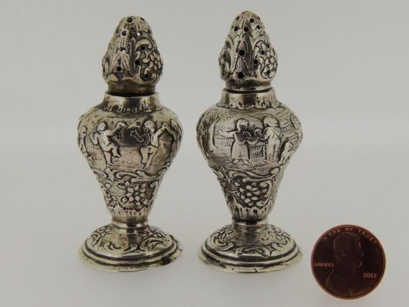 Pair of German Silver Repousse Salt Shakers Stamped 800 - Diminutive SL