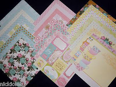12X12 Scrapbook Paper Cardstock Garden Party Tea Time Floral Teacup Spring 24  (Floral Scrapbook Paper)