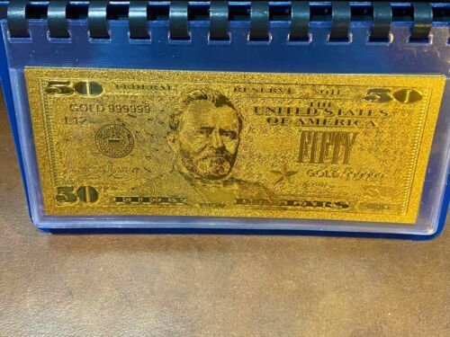 24K GOLD ENHANCED Foil $50 Doll. Bill Collectible Note In Plastic Sleeve N99