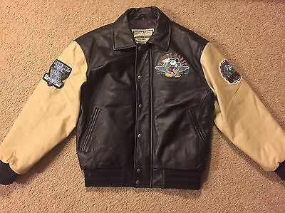 Disney Mickey Mouse Leather Bomber Jacket Medium In Good Condition