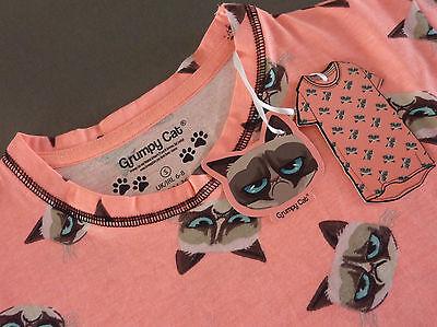 Kurzarm-nachthemd (Grumpy Cat Nachthemd Damen Kurzarm Schlafshirt Bigshirt Sleepshirt XS-S-M Katze)