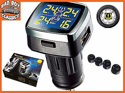 TPMS Wireless Tyre Tire Pressure + Temp Monitor System Kit External Sensors