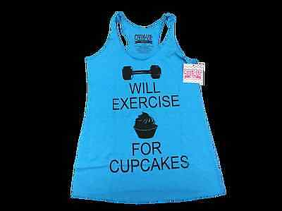 Chin Up Apparel Will Exercise for Cupcakes Cute Cardio Workout Fitness Tank Top