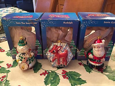 Lot Of 3 Brass Key Boxed RUDOLPH MISFIT TOYS Glass Christmas Ornaments