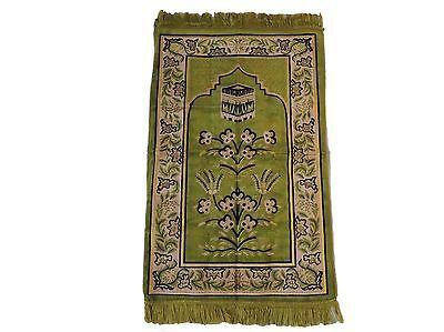 Turkish Islamic Prayer Rug Mat Namaz Salat Musallah - OLIVE GREEN color Sejadah