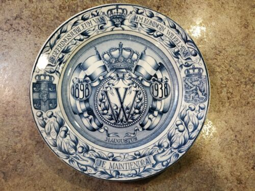 "Vintage 1898-1938 Netherlands QUEEN WILHELMINA Commemorative Plate Holland 8.25"""