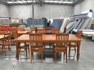 DELIVERY TODAY VERY BIG SOLID WOODEN dining table & 6 chairs