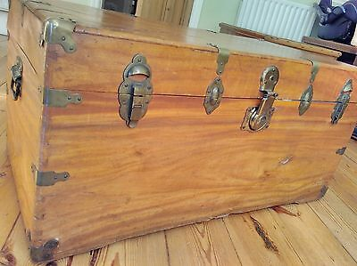 Stunning large antique campaign chest trunk blanket box