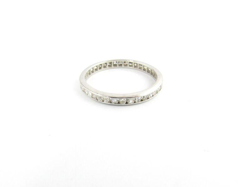 Vintage 14 Karat White Gold and Diamond Eternity Wedding Band Size 7.5 #5503