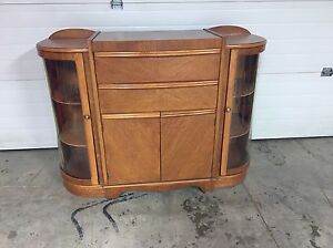 Antique curved glass buffet