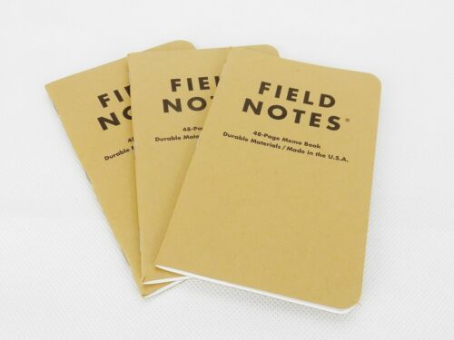 Field Notes Brand 48 Page Memo Book, LOT of 3, Pocket Size, Durable, Made In USA