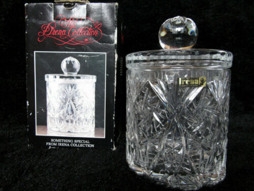 VINTAGE NOS HEAVY CRYSTAL GLASS ICE BUCKET LID COOKIE JAR HANDCUT  IRENA POLAND