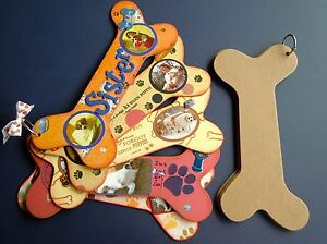 Bare Chipboard Dog Bone Shaped Album - 6 Pages