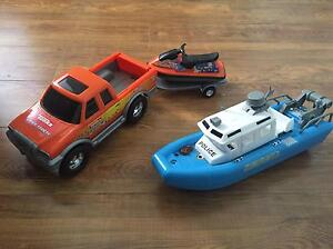 Tonka Truck with JetSki Trailer and Police Boat Willetton Canning Area Preview