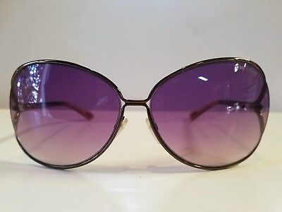 New Tom Ford Clemence 65mm Open Temple Oversize Dark Metal Sunglasses Italy Made