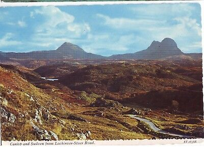 Old Postcard - Canisp and Suilven from Lochinver-Stoer Road - Unposted M223