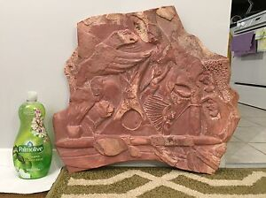 Large pink soap stone carving