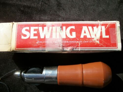 Vintage Sewing Awl Sew Canvas & Leather Quick Lock Stitch Made Hong Kong