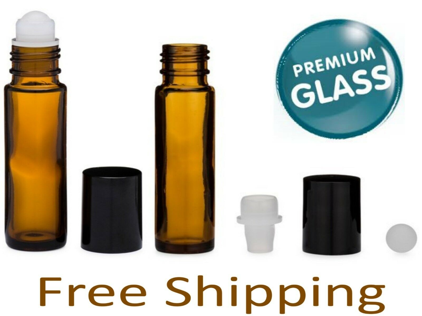 Essential Oil Amber Glass Roll on Roller Bottles 10ml Empty