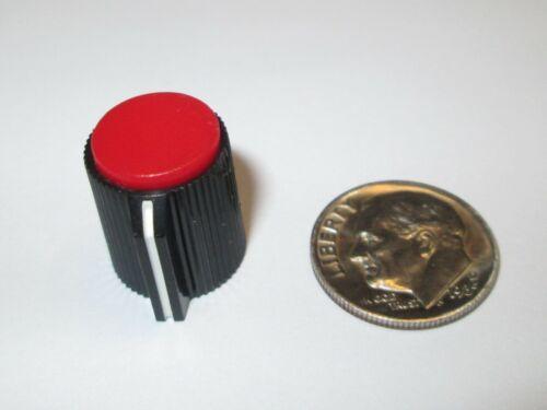 "BLACK-RED KNOB  FOR 1/4"" SHAFT  W/POINTER (line)  PLASTIC  NOS  2 PCS."