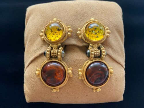 VTG Matte Gold Tone Funky Yellow & Amber Cabochon Brutalist Drop Clip Earrings