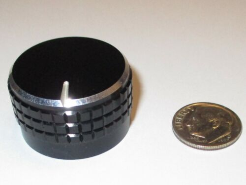 """SOLID ALUMINUM KNOB FOR 1/4"""" SHAFT BLACK/SILVER W/WHITE LINE 1.17""""OD  USED, GOOD"""